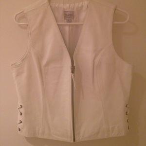 Vintage 90's white leather vest